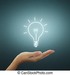 圖畫, 燈泡, 光, 想法, 手