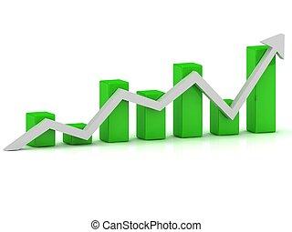 圖表, 事務, 酒吧, 成長, 綠色, 箭, 白色