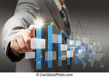 圖表, 圖形, 商人, 接觸, 圖表, 實際上, 手