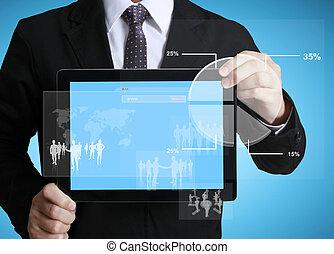 圖表, 接觸, 片劑, 屏幕