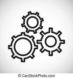 圖表, 黑色半面畫像, gear., 矢量, 圖象, design.