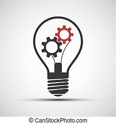 圖象, 光, 矢量, 齒輪, 机械, 燈泡