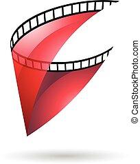 圖象, 卷起, 透明, 電影, 紅色
