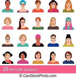 圖象, 婦女, 風格, 背景, avatars, 集合, 白色, 矢量, 有吸引力, 大, 套間