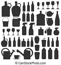 圖象, 玻璃, 黑色半面畫像, 矢量, 飲料, 瓶子