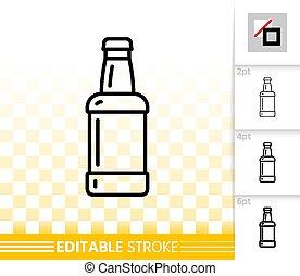 圖象, 線, 矢量, 簡單, 玻璃, 啤酒瓶子, 黑色