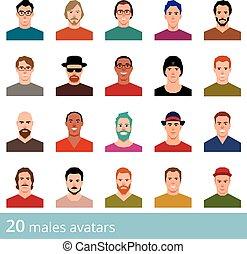 圖象, 背景, avatars, 集合, 人, 矢量, 有吸引力, 大, 白色