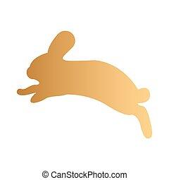 圖象, 跳躍, 黃金, 黑色半面畫像, 兔子