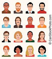 圖象, 風格, 人, 不同, 婦女, avatars, 集合, 矢量, 國籍, 套間