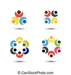 圖象, 鮮艷, 人們, 學校, -, 集合, 環繞, 矢量, 概念