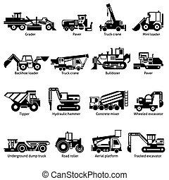 圖象, 黑色, 建設, 機器, 集合, 白色