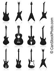 圖象, colour., 插圖, 矢量, 黑色, 吉他