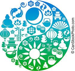 圖象, yang, 符號, 禪, yin, 做