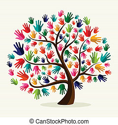 團結, 手, 鮮艷, 樹