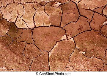 土壤, 結構, 干燥, 背景, 黏土, 被爆裂, 紅色