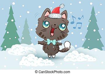 圣帽子, 貓, 插圖, 矢量, 漂亮, 聖誕節