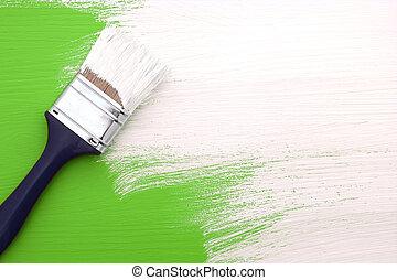 在上方, 畫, 綠色白色, 畫, 畫筆