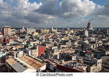 在上方, 看法, 哈瓦那, 屋頂, 古巴