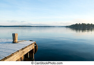 在上方, 看法, 湖, 平靜