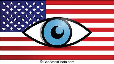 在下面, 設計, 美國, 插圖, 監視