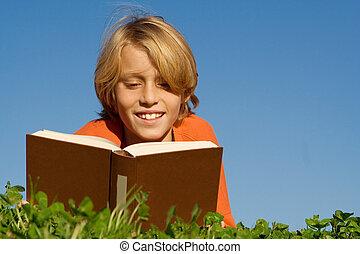 在戶外, 閱讀, 孩子, 書, 愉快