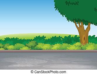 在旁邊, 樹, 路