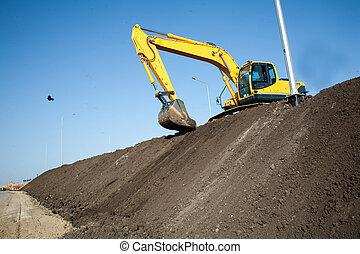 在期間, 工作, sandpit, 挖掘機, earthmoving