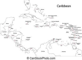 地圖, 加勒比海, outline