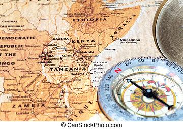 地圖, 古老, 葡萄酒, 旅行目的地, 指南針, 坦桑尼亞, 肯尼亞