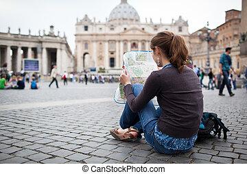 地圖, 彼得` s, 女性, 城市, 學習, 街, 年輕, 羅馬, 廣場, 相當, 梵蒂岡, 遊人