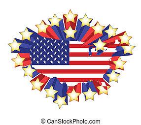 地圖, 旗, 星, 我們, 3d