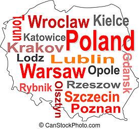 地圖, 波蘭, 大, 詞, 城市, 雲