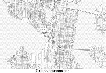 地圖, 美國, 概述, seattle, 明亮, 矢量, 華盛頓