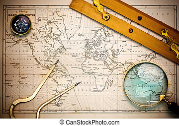 地圖, objects., 老, navigational