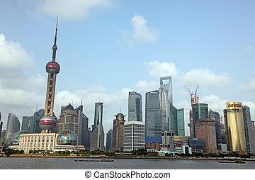 地平線, 上海, 看法, bund, 浦東