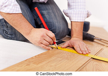 地板, -, 放置, improvment, laminate, 家