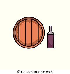 地窖, flat., 圖象, 被隔离, 插圖, barrel., 背景。, 矢量, 瓶子, 白色, icon., 酒