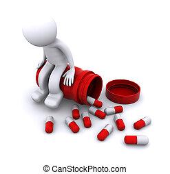 坐, 罐, 字, 有病, 藥丸, 3d