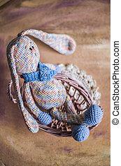 坐, 顏色, 編織, vines., 兔子, 籃子, 彩色蜡筆