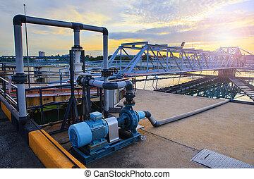 坦克, 大城市, 供應, 大, 工業, 水, 自來水廠, pla
