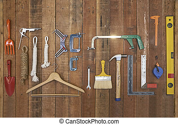 垂直, 懸挂, 手, equipments, 木頭, 條紋, 工具, 板
