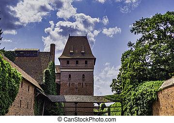 城堡, 城堡, 中世紀, 給人深刻印象, -, malbork, 哥特式, 複雜, 波蘭