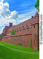 城堡, 牆壁, 波蘭, malbork