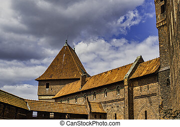城堡, 美麗, 中世紀, 城堡, -, malbork, 哥特式, 複雜, 波蘭