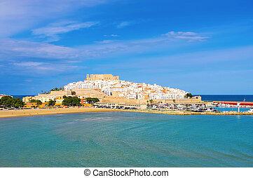 城堡, 老, 看法, peniscola, 村莊, 西班牙, 房子, 白色