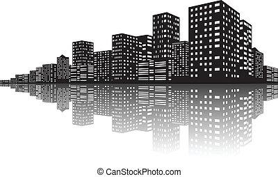 城市地平線, 場景, 夜晚