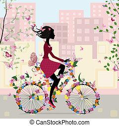 城市, 女孩, 自行車
