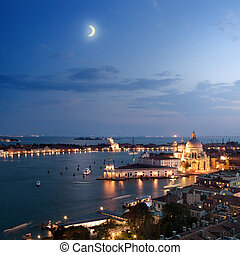 城市, 威尼斯, 晚上, 空中的觀點