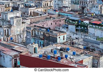 城市, 屋頂, 古巴, 在上方, 哈瓦那, 看法