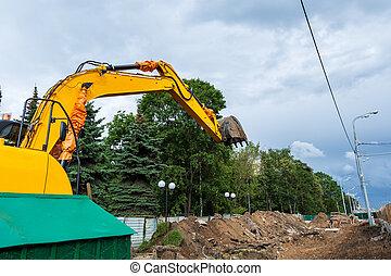城市, 工作, earthmoving, 挖掘機, 在期間